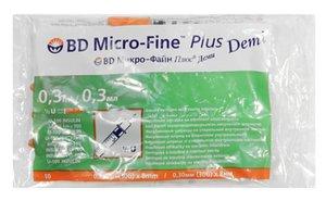 Шприц БД МикроФайн Плюс Деми инсулин 0,3мл U-100 с интегр.иглой 30G (0,3*8мм) №10