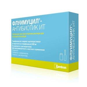 Флуимуцил-антибиотик ИТ пор. д/инг. 500мг №3