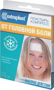 Пластырь Экстрапласт компресс от головной боли 5х12см №3