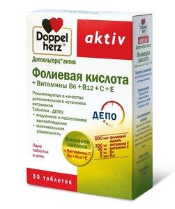 Доппельгерц Актив Фолиевая к-та+вит B6+B12+C+E таб. №30