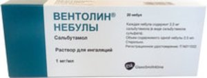 Вентолин Небулы р-р д/ингал. 1мг/мл 2.5мл №20