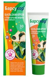 Барсукор бальзам-крем массажный д/детей с барсучьим жиром 30мл