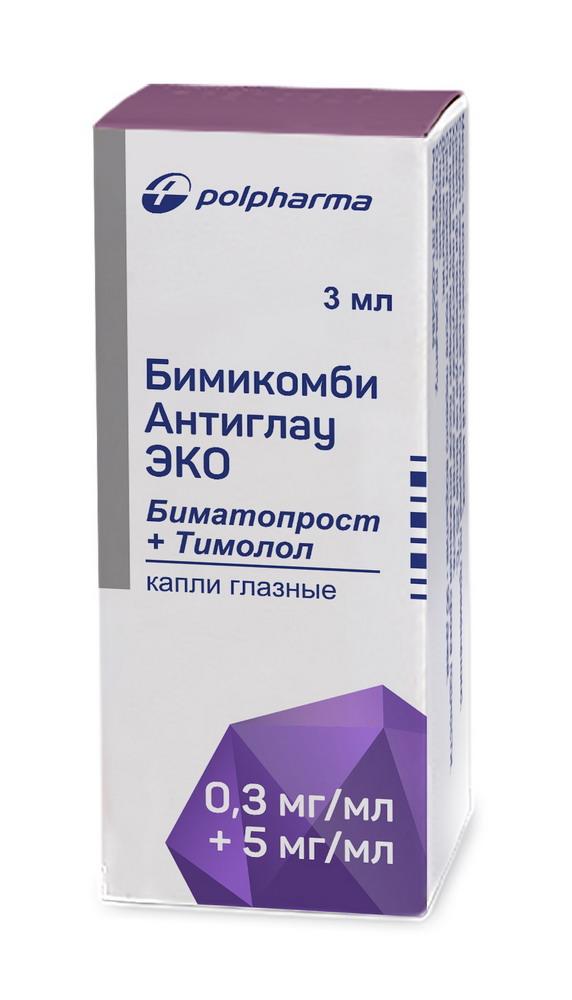 Бимикомби антиглау ЭКО капли гл. 0,3мг/мл+5мг/мл 3мл