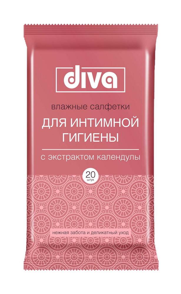 Дива салфетки влажные д/интимной гигиены с календулой №20