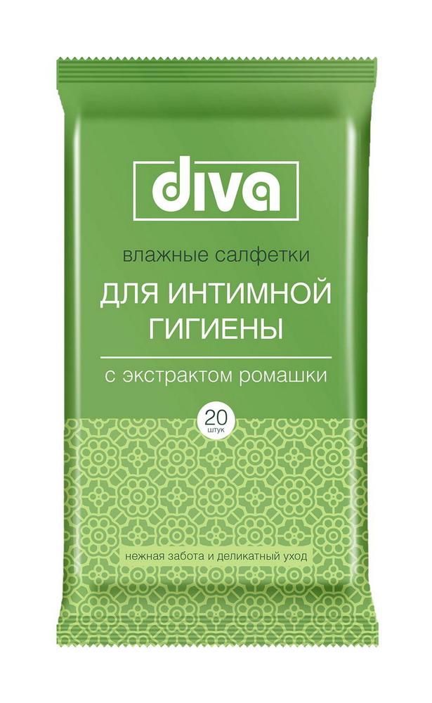 Дива салфетки влажные д/интимной гигиены с экстрактом ромашки №20