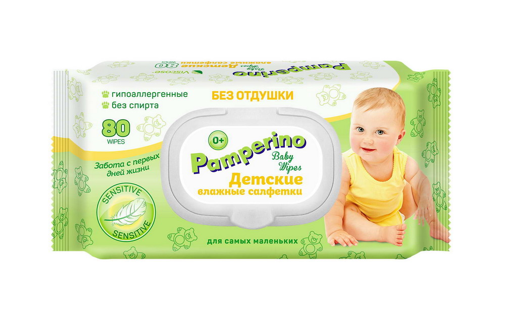 Памперино Салфетки влажные детские б/отдушки с пластиковым клапаном №80