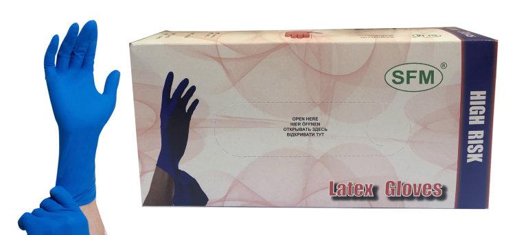 Перчатки латексные смотр. н/стер. б/пудры High Risk(прочн.удлиненная манжета) р.М 25 пар