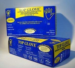 Перчатки смотровые латексные опудренные нестерильные Top Glove р.XL №50