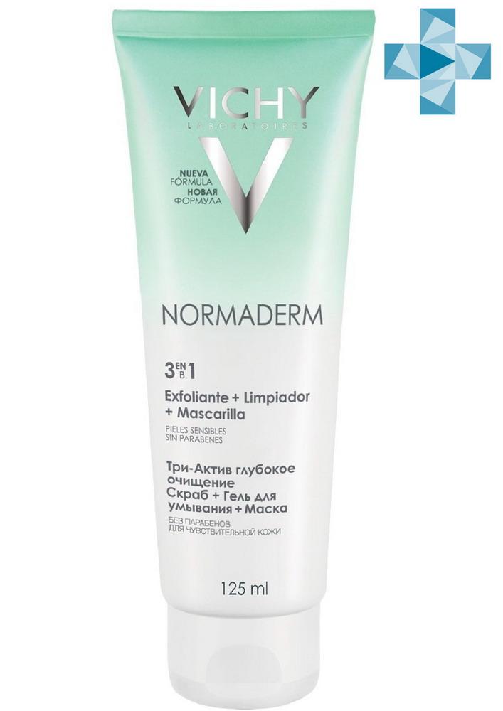 Виши Нормадерм Три-актив глубокое очищение 3в1 гель+скраб+маска 125мл
