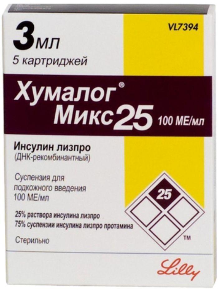 Хумалог Микс 25 сусп. д/ин 100 ЕД/мл 3мл №5 (картриджи)