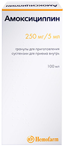 Амоксициллин гран. д/сусп. 250мг/5мл 100мл