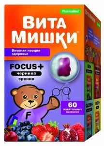 ВитаМишки Фокус+черника пастилки жеват. №60
