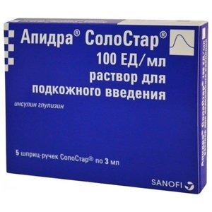 Апидра СолоСтар р-р п/к 100 МЕ/мл 3мл №5