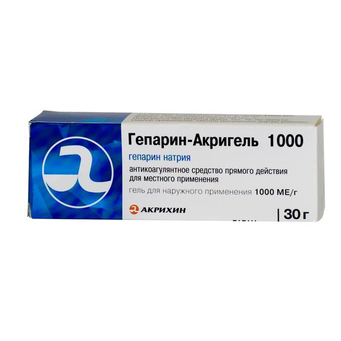 Гепарин-Акрихин гель 1000МЕ туба 50г