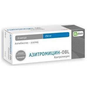 Азитромицин-OBL капс. 250мг №6