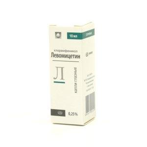 Левомицетин капли гл. 0.25% 10мл (фл-кап)