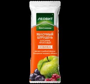 Леовит батончик фруктовый яблочный штрудель 30г
